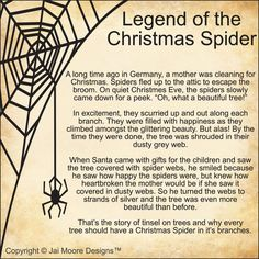 Legend of the Christmas Spider - For anyone who has seen my red spider hanging above my kitchen sink, this is why. She's a Christmas Spider I bought at a craft show. Christmas Spider, Merry Christmas, Christmas Poems, German Christmas, A Christmas Story, Christmas Traditions, Winter Christmas, Vintage Christmas, Ukrainian Christmas