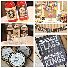 Boy Football Birthday Party Sports Party Decorations. 5 piece party decor box. Physical product. All sports / Chalkboard/ Vintage by CharmingTouchParties on Etsy