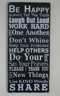 Family Rules Sign Version IV - Typography Word Art in Portrait