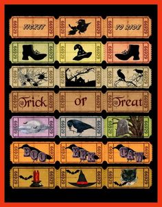 Altered Art Vintage Halloween Ticket Sets 1 - DOWNLOAD | SenecaPondCrafts - Digital Art on ArtFire