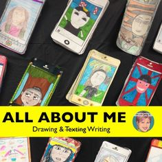 """All About Me """"selfie"""" drawing and writing activity for classroom teachers and art teachers. This all about me product is a TpT teacher favorite! It's a great first week of school / back to school activity that is also useful at other times of the year--Back to School, Halloween, New Years, and End of the Year."""