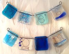 Child's name fused glass bunting personalised girl boy room children fish blue…
