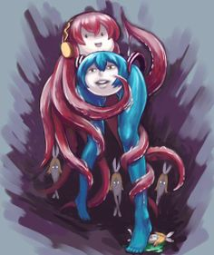 Shiteyanyo & Tako Luka with larval Rin in the background Vocaloid Funny, Creepy Horror, Anime Child, Z Arts, Cursed Images, Hatsune Miku, Pretty Cool, Art Reference, Indigo