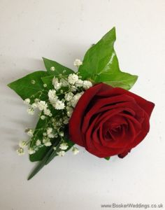 Red Rose and White Gypsophila Grooms Buttonhole Wedding Flowers Liverpool, Merseyside, Bridal Florist, Booker Flowers and Gifts, Booker Weddings