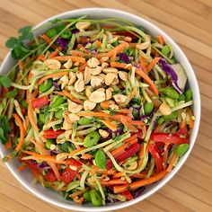 Rainbow Asian Slaw with Peanut Dressing...crunchy, healthy...my kind of lunch! tallfrys