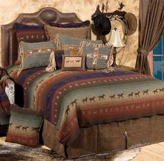 Mustang Canyon Bedding Features Galloping Horses, Leather and Fringe with Sparkling Silver Conchos
