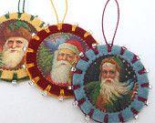 3 Wool Felt Santa Ornaments with Beading