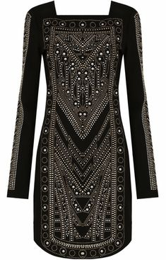 Black With Gold Studded Bodycon DressGold Studded DetailLong SleeveInvisible Zip at NeckFabric : Polyester & Elastane Sky Williams, Gold Studs, Bodycon Dress, Boutique, June, Collections, Blouse, Kurtis, Black
