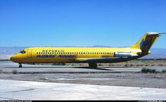 Hughes Airwest (Republic Airlines) DC-9-31, Palm Springs CA, 1980. This was taken during the first day or two of Republic Airlines after the merger with Hughes Air West showing both titles. -- Ellis M. Chernoff (Airliners.net)