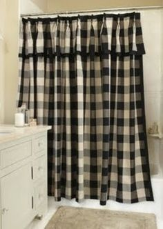 Classic Check Midnight Black And Cream Fabric Shower