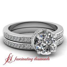 Round Cut Petite Diamond Engagement Wedding Rings Pave Set