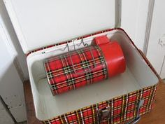 Red plaid metal lunch box with thermos, had one in elementary school