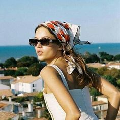 Add a touch of french style with a Silk Scarf Bandanas, Green Tassel Earrings, Animal Print Scarf, Silk Scarves, Silk Hair Scarf, How To Wear Scarves, Scarf Hairstyles, Blonde Highlights, Street Style