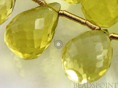 Natural '' NO TREATMENT'' Lemon Topaz Large Micro Faceted Tear Drops, AAA Quality Gemstones 9x13mm , 1 Strand (LTZ9x13TEAR)