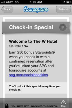 """Foursquare & SPG Points (Could use with Family Area Activities, earn a free round of mini golf or ice cream, etc.) 
