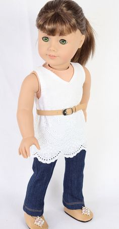 American Girl Doll Clothes, MODERN CITY CHIC, Embroidered Lace Tunic Dress, Denim Trousers, and Butterscotch Belt and Ballet Flats