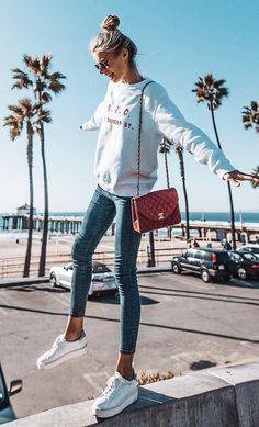 ootd sweatshirt + skinny jeans + bag + sneakers #fall #cali
