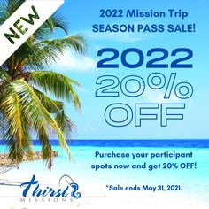 NEW - For the first time ever, 20% off for ALL participants, to ALL locations in 2022! Limited Time - Click on the link to our website to learn more! www.thirstmissions.org #ThirstMissions #Alaska #Belize #Appalachia #PuertoRico #MissionTrip #2022 #PlanAhead #Limitedtime #GO All Locations, Belize, Puerto Rico, Alaska, First Time, Website, Learning, Link, Studying