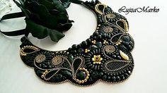 LujzaMarko / Čierny náhrdelník s kvapkou zlata