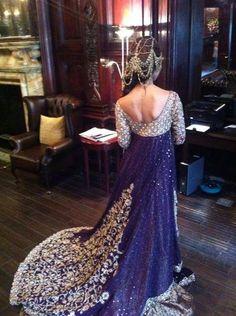Stunning royal purple lengha with trail! wow ok wow