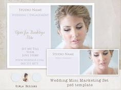 INSTANT DOWNLOAD Wedding Mini Marketing set psd by KimlaDesigns, #photography #template #weddingphotography #photoshop