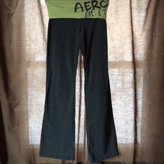 Aero yoga pants Yellow-green and dark grey Aeropostale yoga pants. Cheetah print aero print. Has paint stains as shown in pictures. No tag but are xsmall. Pants
