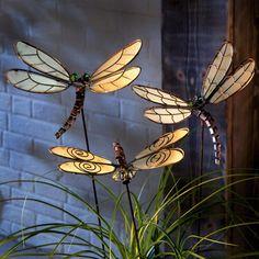 Gartenstecker Libellen 3-teilig - Metall - Braun