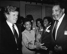 Senator Edward Kennedy, Congresswoman Maxine Waters, and Jim Cleaver at a Los Angeles event.   Institute for Arts and Media Photographs.