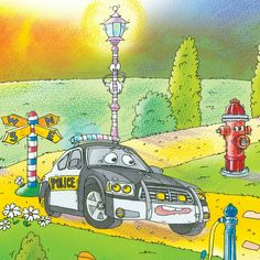 """The Police Car is rushing to help! From: """"The Little Lost Truck"""""""
