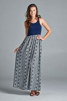 *** Solid & Ethnic Maxi Dress *** Sleeveless solid & ethnic maxi woven dress with elastic banded on waistline. =