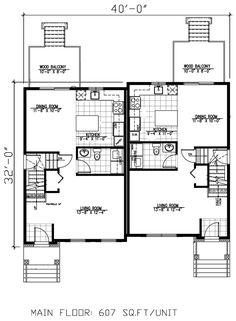 Multi-Family Plan 48046 Total Living Area: 2428  Main Living Area: 607  Upper Living Area: 607  Unfinished Basement Area: 607  Garage Type: None   House Width: 40'  House Depth: 32'  Number of Stories: 2  Bedrooms: 4  Full Baths: 4  Max Ridge Height: 28'5  Primary Roof Pitch: 6:12  Roof Load: 60 psf  Roof Framing: Truss  Porch: 104 sq ft  Main Ceiling Height: 8'  Upper Ceiling Height: 8'
