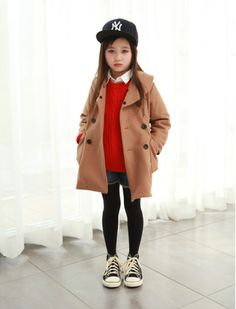 TUCKERS IN TRAINING! Children's street style // denim cut offs with tights, pea coat, and Yankees cap #kids #style
