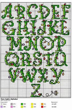 Christmas Lights ABC Cross Stitch Patterns Graphed Cross Stitch Letters - children could copy to personalise embroidery projects Christmas Cross Stitch Alphabet, Cross Stitch Alphabet Patterns, Embroidery Alphabet, Xmas Cross Stitch, Cross Stitch Letters, Cross Stitch Needles, Cross Stitch Charts, Cross Stitch Designs, Cross Stitching