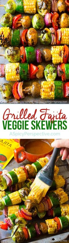 """Grilled Fajita Vegetable Skewers – A healthy vegetarian skewer recipe loaded with fresh summer veggies and """"fajita butter."""" A fabulous side dish for picnics! * You can find more details by visiting the image link. Grilled Vegetable Kabobs, Veggie Skewers, Grilled Vegetables, Grilled Skewers, Vegtable Kabobs, Bbq Skewers, Shish Kabobs, Grilled Food, Healthy Vegetables"""