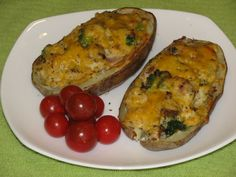 Bacon and Broccoli Stuffed Double Baked Potatoes  Lots of low calorie non-processed recipes