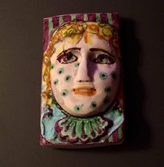Handmade clay face  rectangle head cabochon mosaic tile woman