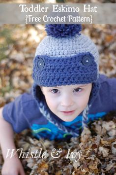Toddler Eskimo Hat FREE Crochet Pattern - Make with two strand, this hat works up quick and is thick and cozy. {Pattern by Whistle and Ivy}