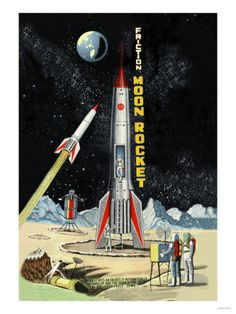 """Reproduction of an advertizement for the """"Friction Moon Rocket"""""""