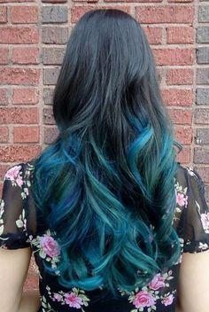 Mavi Siyah Ombre Saç Modeli