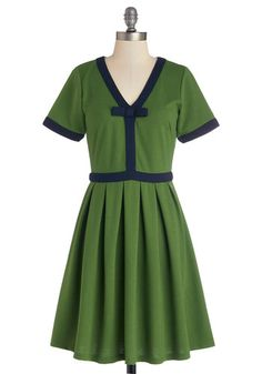 Night Brunch Dress in Fern by Dear Creatures - Green, Solid, Bows, Pleats, Trim, Casual, Vintage Inspired, 60s, A-line, Short Sleeves, Bette...