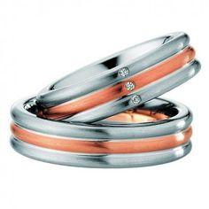 Two Tone 10k White-yellow-white Gold Satin His Hers Wedding Rings 0.06 Ctw Round Diamond 6mm 02142