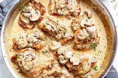 Chicken Thighs With Creamy Mushroom Garlic Sauce - Cafe Delites