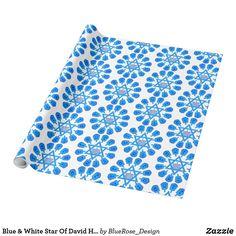 Blue & White Star Of David Hanukkah Wrapping Paper