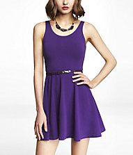 STRETCH COTTON SKATER DRESS  This dress also comes in blue and yellow but I like the purple best.