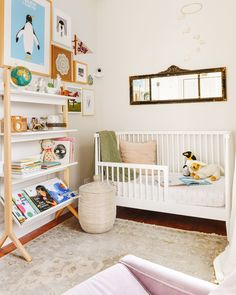 Lucy's nursery and bookshelf! Lucy's diverse library | 23 diverse + inclusive books for kids | via Yellow Brick Home Modern Girls Rooms, Big Girl Rooms, Home Bedroom, Bedroom Furniture, Bedrooms, Toy Organization, Kid Spaces, Creative Kids, Bookshelves