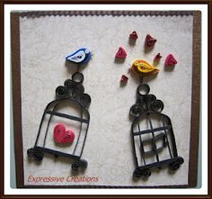 Quilled birds and birdcages