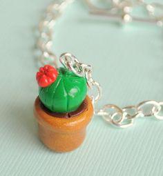 Miniature Succulent Cactus Red Flower Plant by PumpkinPyeBoutique, $15.00