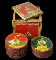 Complete Dashavatara Ganjifa Playing Card Set & Box Sawantwadi