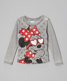 Take a look at this Heather Gray Minnie Heart Hi-Low Top - Girls by Disney on #zulily today!