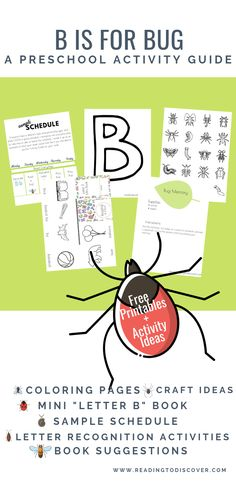 B is for Bug: Letter B Activity Guide for Preschoolers. Includes book recommendations, free printables, and craft directions for preschoolers. Free Preschool, Preschool Classroom, Preschool Learning, Kindergarten Activities, Classroom Ideas, Activities For Kids, Letter B Activities, Insect Activities, Book Suggestions